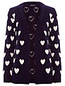 Sugarhill Boutique Heart Cardigan, Navy / Cream