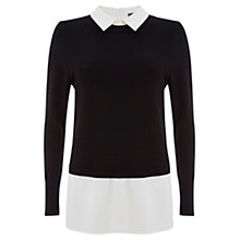Buy Mint Velvet Crop Layered Jumper, Black/White Online at johnlewis.com
