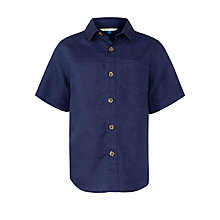 Buy John Lewis Boy Short Sleeve Linen Shirt, Navy Online at johnlewis.com