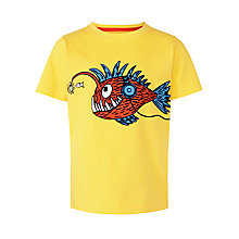 Buy John Lewis Boy Fish Print Crew Neck T-Shirt, Yellow Online at johnlewis.com