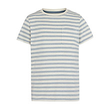 Buy John Lewis Boy Stripe Crew Neck T-Shirt, White/Blue Online at johnlewis.com