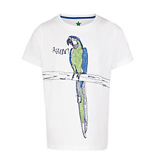 Buy John Lewis Boy Parrot Print T-Shirt, White Online at johnlewis.com