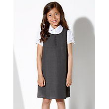 Buy John Lewis School Girls' Button Tunic Dress, Grey Online at johnlewis.com