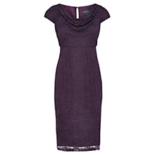 Buy Viyella Lace Cowl Neck Dress, Dark Purple Online at johnlewis.com