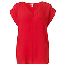 Buy Jigsaw V Neck Silk T-Shirt, Red Online at johnlewis.com