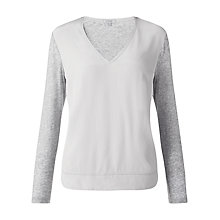 Buy Jigsaw Colour Block Silk Cotton Top, Grey Online at johnlewis.com