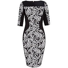 Buy Closet Tapestry Bodycon Dress, Black/White Online at johnlewis.com