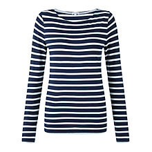 Buy Jigsaw Retro Jersey Stripe T-Shirt, Pale Blue Online at johnlewis.com