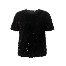 Buy Jigsaw Flocked Sequin Top, Black Online at johnlewis.com