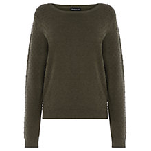 Buy Warehouse Textured Side Jumper, Khaki Online at johnlewis.com