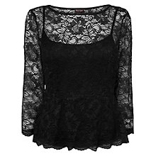 Buy Phase Eight Peplum Lace Top, Black Online at johnlewis.com