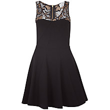 Buy Closet Lace Contrast Godet Ponti Dress, Black/Gold Online at johnlewis.com