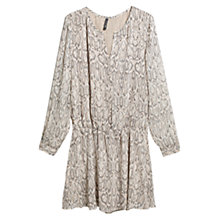 Buy Mango Snake Print Dress, Light Beige Online at johnlewis.com