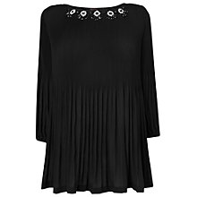 Buy Phase Eight Tia Embellished Pleat Blouse, Black Online at johnlewis.com