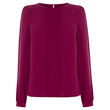 Buy Oasis Frill Pleat Top, Bright Pink Online at johnlewis.com