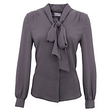 Buy Wolf & Whistle Bow Front Blouse, Charcoal Online at johnlewis.com
