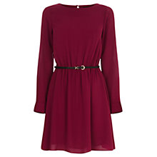 Buy Oasis Plain Long Sleeve Skater Dress, Berry Online at johnlewis.com