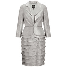 Buy Adrianna Papell Peplum Jacket Shimmer Dress, Platinum Online at johnlewis.com