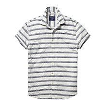 Buy Scotch & Soda Textured Stripe Short Sleeve Shirt, White/Blue Online at johnlewis.com