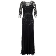 Buy Adrianna Papell Long Sleeved Beaded Gown, Black Online at johnlewis.com
