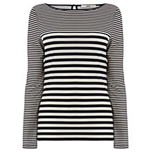 Buy Oasis Stripe Faux Leather Trim Top, Black/White Online at johnlewis.com