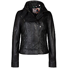 Buy Ted Baker Zip Collar Leather Jacket, Black Online at johnlewis.com