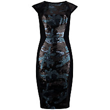 Buy Ted Baker Camouflage Sequin Panel Dress, Black Online at johnlewis.com