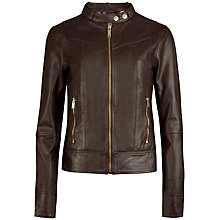 Buy Ted Baker Fitted Multi Panel Leather Jacket Online at johnlewis.com