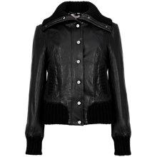 Buy Ted Baker Rib Detail Leather Bomber Jacket, Black Online at johnlewis.com