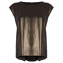 Buy Oasis Metallic Pleat Back T-Shirt, Gold Online at johnlewis.com
