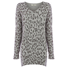 Buy Oasis Animal V-Neck Jumper, Mid Grey Online at johnlewis.com
