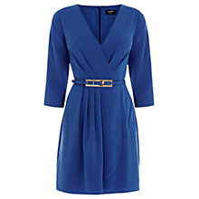 Buy Oasis Plain Crepe Wrap Dress, Rich Blue Online at johnlewis.com