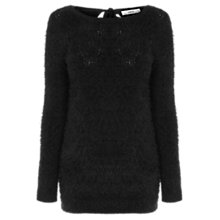 Buy Oasis Pointelle Fluffy Longline Jumper, Black Online at johnlewis.com