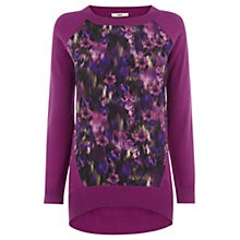 Buy Oasis Smudgy Floral Top, Purple Online at johnlewis.com