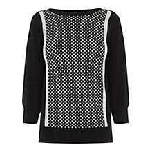 Buy Oasis Text Slash Neck Jumper, Black/White Online at johnlewis.com