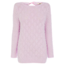 Buy Oasis Pointelle Fluffy Jumper, Lilac Online at johnlewis.com