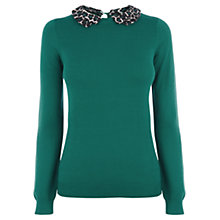Buy Oasis Animal Print Collar Top, Green Online at johnlewis.com