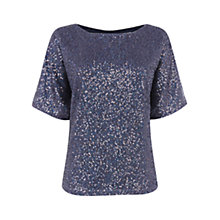 Buy Oasis Sequin T-Shirt, Mid Blue Online at johnlewis.com