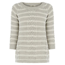 Buy Oasis Phoebe Stripe Jumper, Grey Online at johnlewis.com