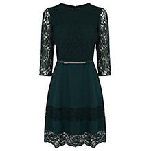 Buy Oasis Lace Stripe Skater Dress, Teal Online at johnlewis.com