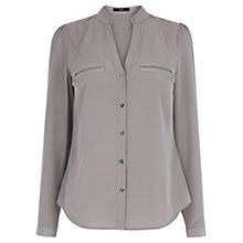 Buy Oasis Zip Pocket Shirt, Pale Grey Online at johnlewis.com