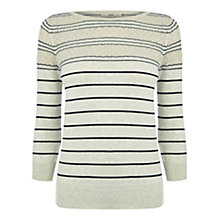 Buy Oasis Sparkle Pointelle Knitted Top, Light Neutral Online at johnlewis.com