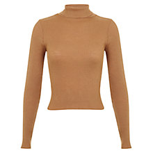 Buy Miss Selfridge Knitted Roll Neck Jumper, Tan Online at johnlewis.com
