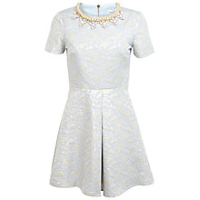 Buy Miss Selfridge Petite Jacquard Necklace Dress, Ice Blue Online at johnlewis.com
