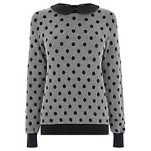 Buy Oasis Spot Collar Cotton Top, Black Online at johnlewis.com