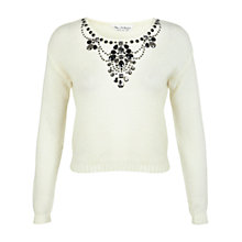 Buy Miss Selfridge Embellished Crop Jumper, Cream Online at johnlewis.com