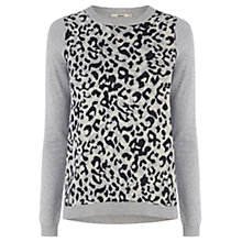 Buy Oasis Animal Jacquard Sweater, Mid Grey Online at johnlewis.com