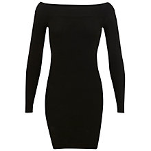 Buy Miss Selfridge Ribbed Bardot Dress, Black Online at johnlewis.com