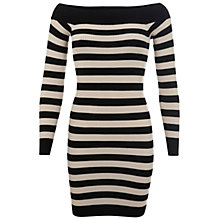 Buy Miss Selfridge Ribbed Bardot Dress, Camel Online at johnlewis.com