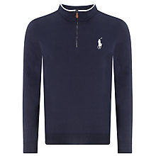 Buy Polo Golf by Ralph Lauren Half-Zip Mockneck Jersey Top, French Navy Online at johnlewis.com